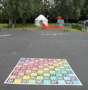 image of new playground markings and new playground equipment at a school in Coventry