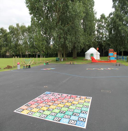 image of number grid playground marking on tarmac playground