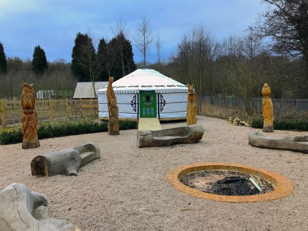 image of a yurt in a primary school used as an outdoor classroom for children