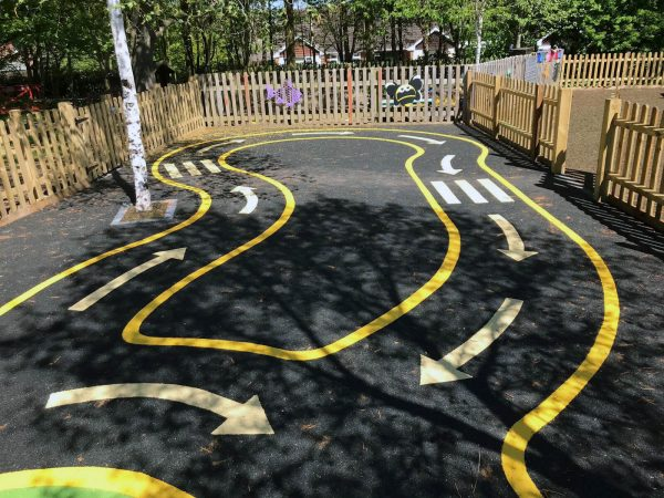 playground safety surfacing wetpour roadway design for EYFS area