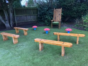 Storytelling Area - Key Stage 1 image of a storytelling chair and benches
