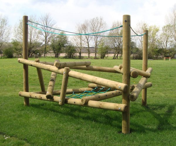 image of a primary school climbing frame with ropes