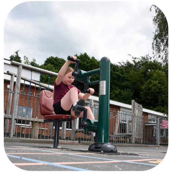 image of key stage 1 children using the fitness equipment
