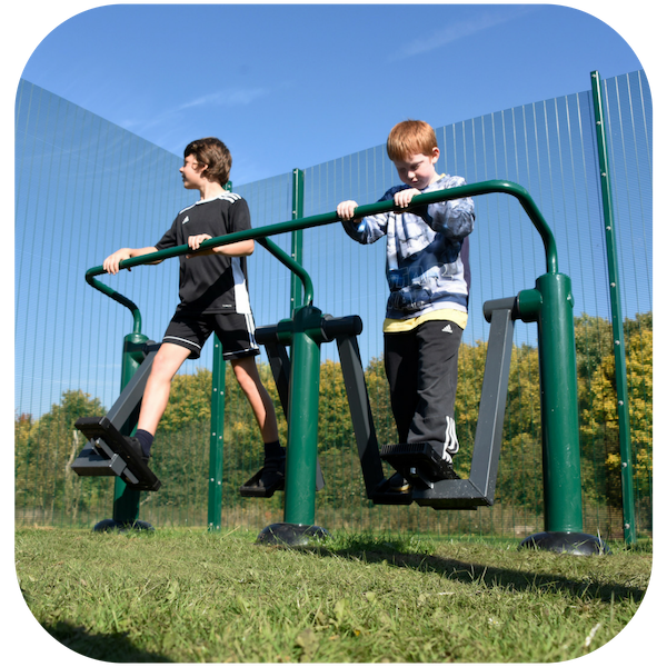 image of key stage 2 children on outdoor gym