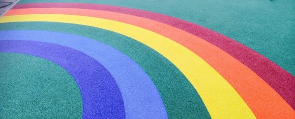 rainbow colour wetpour laid as a surface in a school playground