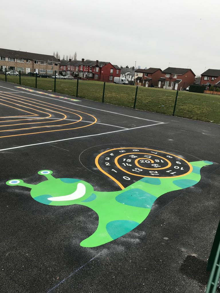 image of a 1-20 number snail playground marking