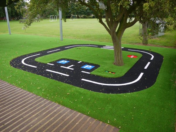 artificial grass with trike track design installed into a primary school