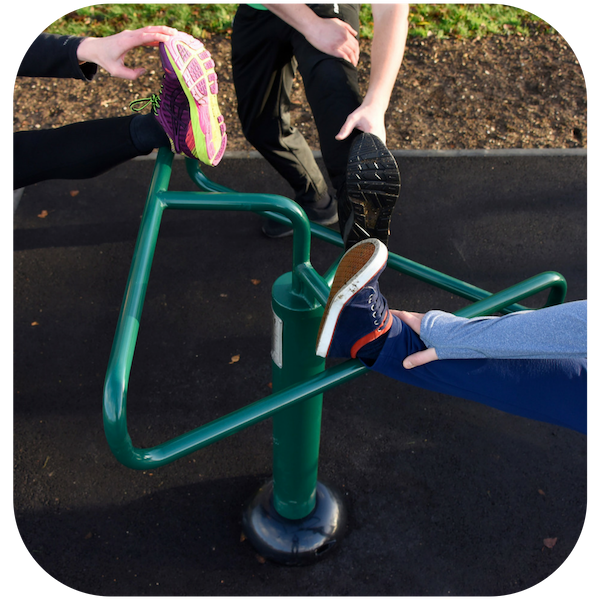 image of primary school fitness equipment onto rubber mulch surface