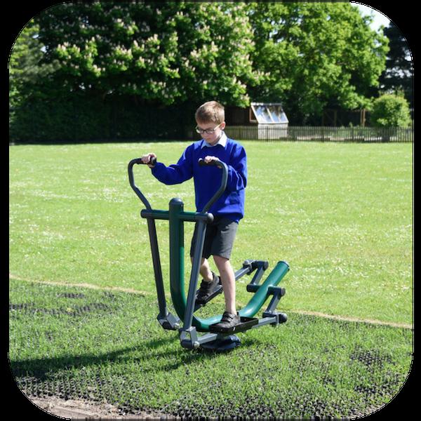 image of school children on fitness equipment