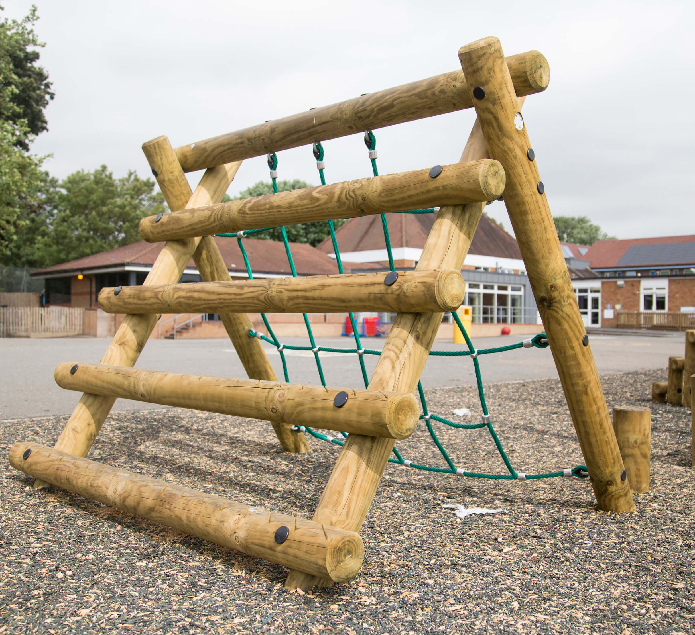 trim trails for schools, timber climbing equipment installed in a Primary School