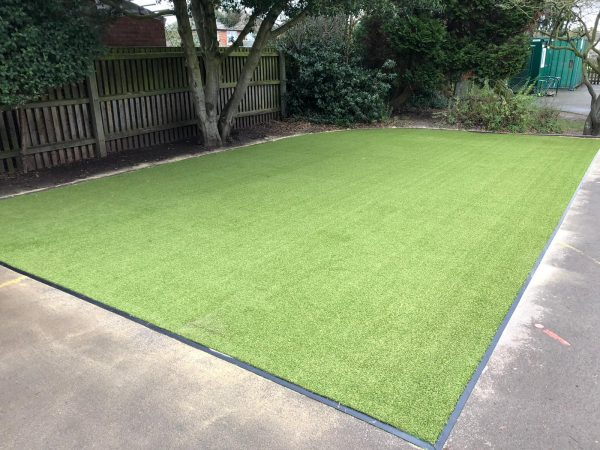 image of artificial grass in school playground