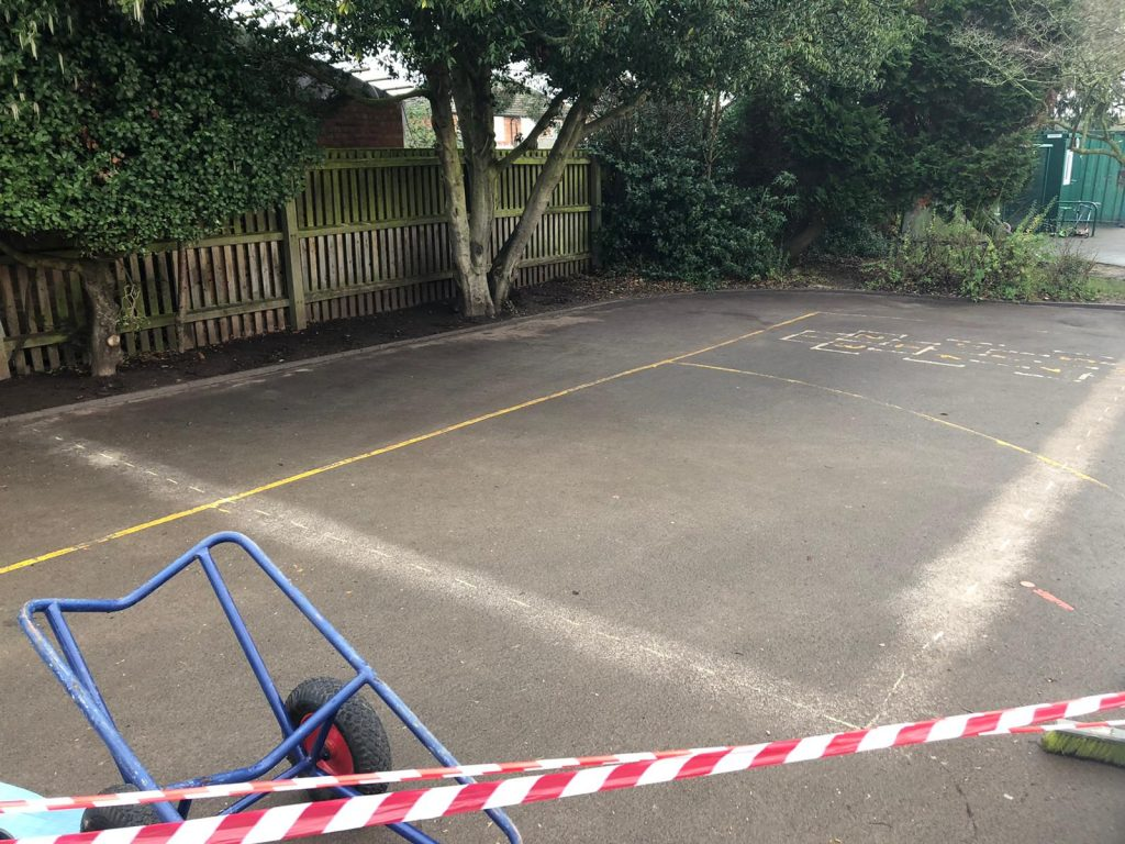 image of resurfacing works to a school playground